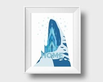 Frozen Castle Art Print, winter decoration, Elsa ice castle Wall Art mailed to you, archival cotton paper art print, Disney Christmas decor