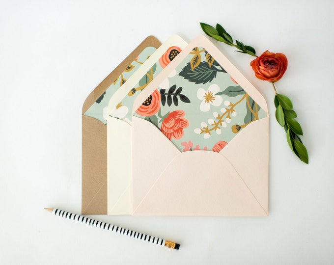 "rifle paper ""birch"" lined envelopes / blue floral envelope liner / envelopes for wedding invitations / wedding envelopes / envelope liner"