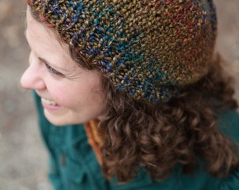Multicolor Bulky Knit Slouch Beanie