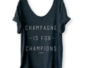 Champagne is for Champions Brunch Swanky Tee in Charcoal/ White, Off Shoulder, Triblend, Raw Edge, Swanky Tee, Brunch Shirt- ONE SIZE