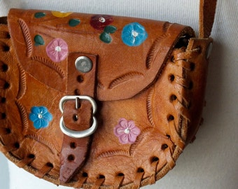 70s tooled leather baby bag + Vintage little girl purse