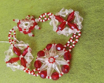 Snowflake hot red and white beadweaving bracelet one size no clasp