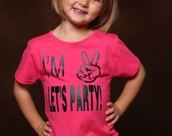 Two Year Old Girl Birthday Shirt - Girls Ruffle Shirt - Girl Birthday Shirt