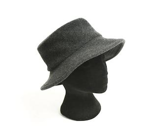 Vintage 80's Grey Wool Bucket Hat