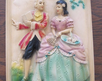 Vintage Chalkware, Colonial couple, wall decor-free shipping