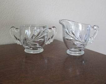 Vintage, clear glass, creamer and sugar-free shipping USA