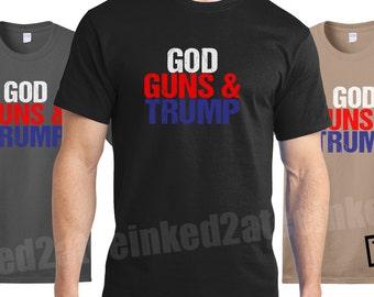 God Guns Trump democrat republican funny politcal tshirts