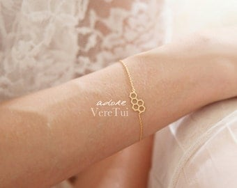 Honeycomb Hexagon Honey Bee Bracelet in Gold