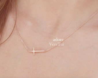 Minimal Sideways Brushed Pink RoseGold Dainty Cross Necklace