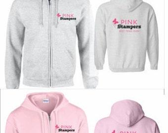 Pink Stampers Team Full Zip Hood w/bling