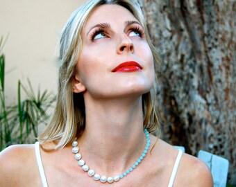 pearl and amazonite necklace, pearl necklace, amazonite necklace, aqua jewelry, multi stone choker,neutral, organic