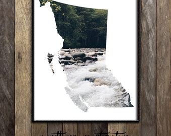 British Columbia Wall Art, British Columbia Map Print, Stanley Park Vancouver Photography, Pacific Northwest Print, BC Artist Made in Canada