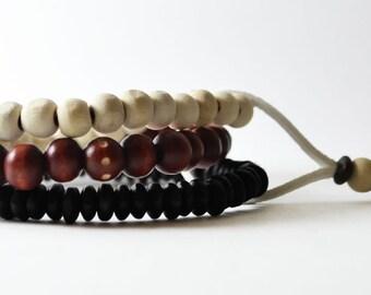 African Nubian Bracelet Handmade in Australia. Men's Streetwear OKSINC Natural Earth tones, Wooden beaded handmade boho bracelet. Red White
