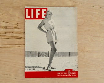 1940s - Life Magazine Cover  - Vintage Girls Play Dresses - Antique - Old Magazine Ad - Advertisement Print - WWII Era Pin Up Girls