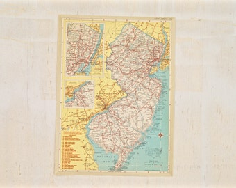 1949 - New Jersey - Authentic Vintage Map - Large Map of New Jersey - Old Antique Map - Colorful Map Crams Atlas - Gift - 89/001