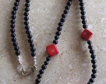 Onyx and Red magnesite necklace  with sterling silver