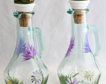 Oil Decanters W/Cork (2) Thistle & Daisy Design - Hand Painted