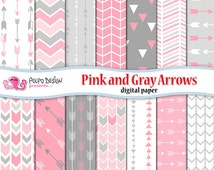 Pink and Gray Arrows Digital Paper. Commercial & Personal Use. Instant Download. Tribal peach, coral and grey arrow patterns backgrounds.