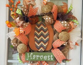 Deco Mesh Fall Wreath~ Pumpkin Harvest Wreath~ Fall Door Wreath~ Front Door Wreath~ Orange  Door Wreath