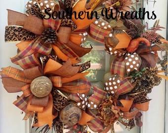 Fall Wreath~ Front Door Wreath~ Fall Door Decoration~Deco Mesh Fall Wreath~ Door Wreath~Autumn Wreath~