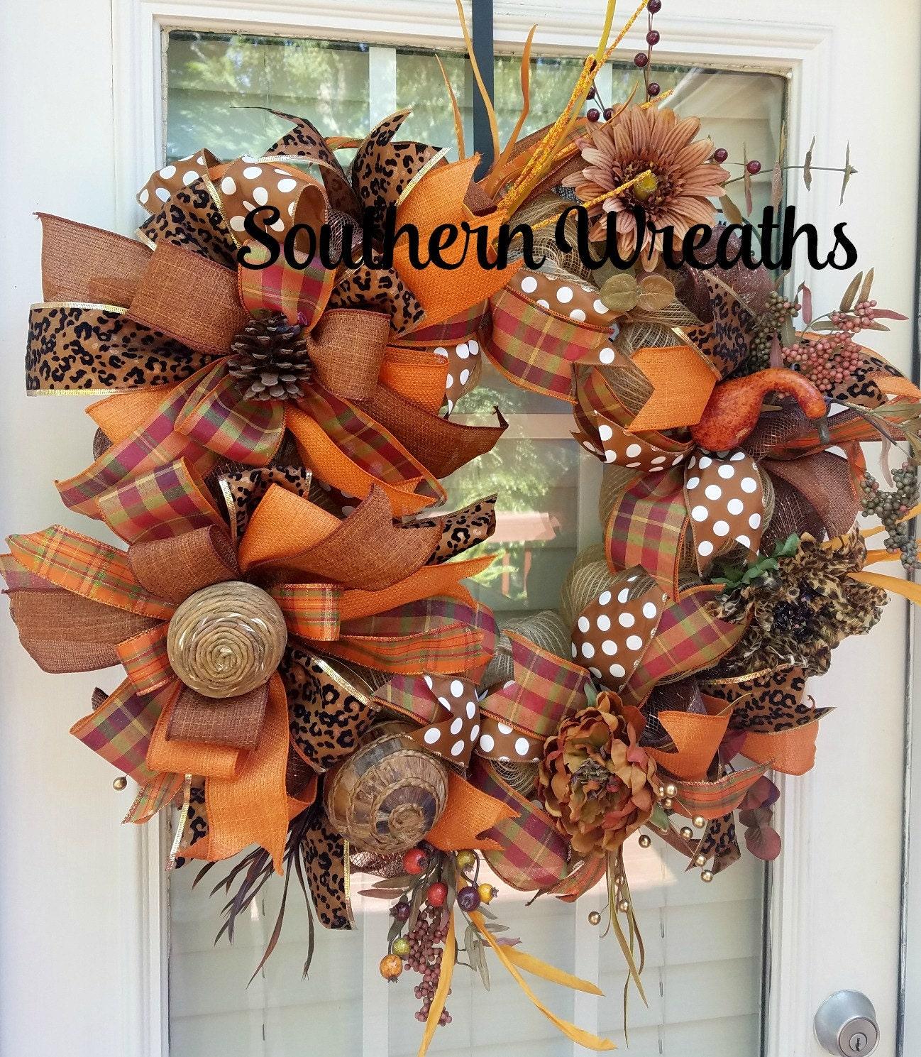 Fall Wreath Front Door Wreath Fall Door Decorationdeco Mesh