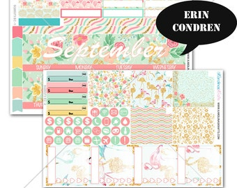 Summer Blossom MONTHLY Planner Stickers, for Erin Condren Stickers, September Planner Stickers, Monthly Sticker Kit #SQ00373-EC
