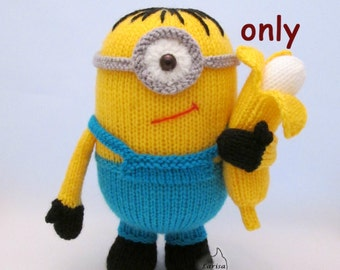 Yellow monster Stu, knitting pdf pattern