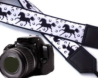 Black Horses camera strap. Black and white. DSLR / SLR Camera accessories. Strap for nikon, canon, sony, panasonic, and other cameras
