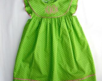 Sale Spring monogram dress for Girls, Toddler Green white dots Monogram dress Birthday monogrammed dresses Summer Dress FREE Personalization