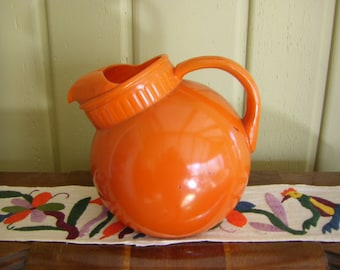 Anchor Hocking Fired on Orange Glass Tilted Ball Pitcher 1940's Art Deco