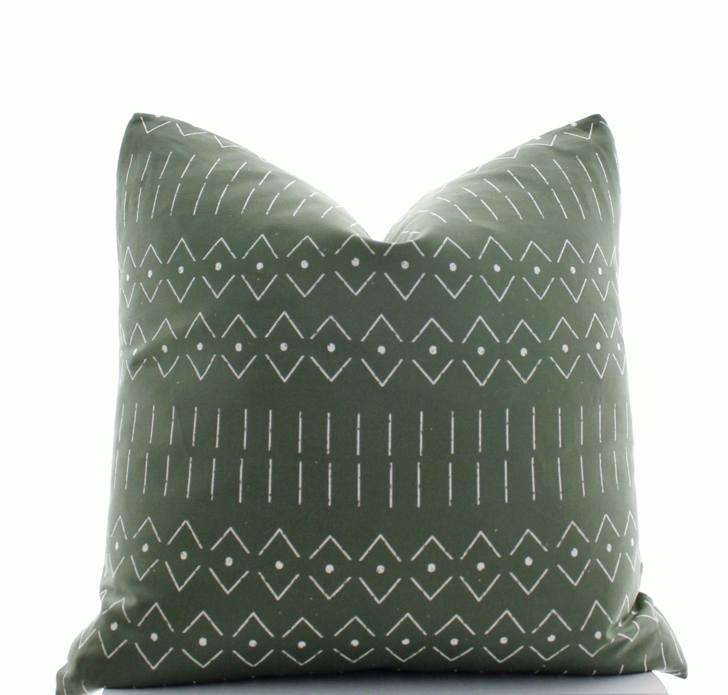 Mudcloth Print Pillow Cover Boho Pillow Army Green Olive