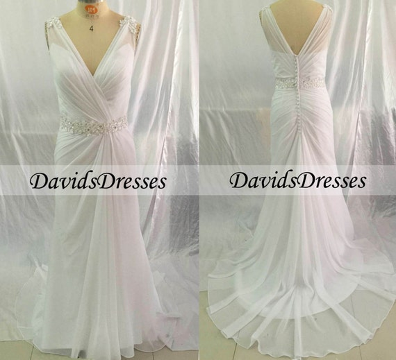 A line chiffon wedding dress v neck 2016 wedding by for Around the neck wedding dresses