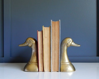 Vintage Brass Duck Head Bookends Solid Brass Silver Mfg Co Leonard
