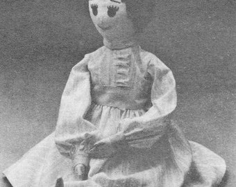 Soft Sculpture Colonial Doll Craft Pattern Bessie Doll Needlecraft For Today Pattern UNCUT