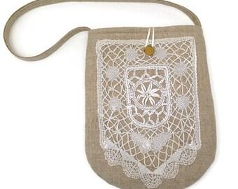 Linen handbag, Brides purse, Antique lace purse, Wedding handbag, Lace evening bag, Evening purse linen, Boho chic purse, Fabric purse