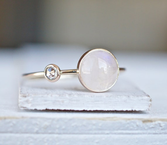 Diamond Ring Rainbow Moonstone Ring Engagement Ring By