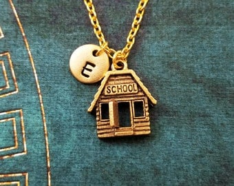 School Necklace SMALL Schoolhouse Necklace Back to School Jewelry Teacher Necklace Teacher Jewelry Student Necklace Charm Necklace Initial