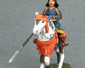 Japanese Collectible Toys 1/32 Scale Samurai with Naginata Medieval Hand Painted Soldier 54mm Metal Miniature Sculpture - Free Shipping