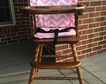 Wooden Highchair Cover/Cushion/Pad: Baby Pink Chevron for wooden/vintage highchairs. Removable foam . Optional monogramming.