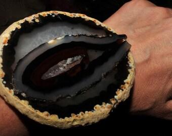 black agate and leather cuff agate slice cuff statement bracelet