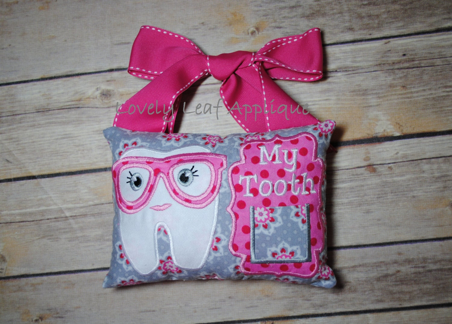 Digital item tooth fairy with glasses pillow ith design