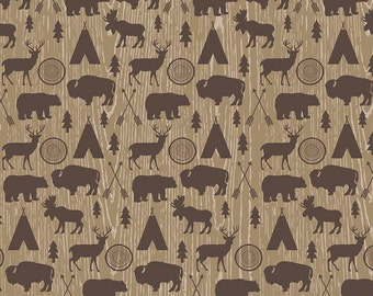 Riley Blake High Adventure, C5550 Main Tan, Brown Wilderness Fabric, Buffalo, Deer, Bear, Moose, TeePee, Design by Dani, Quilting Cotton