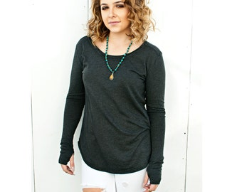 SALE - Women's Organic Charcoal Black Vail Long Sleeve Top - XSmall - Large