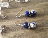Dragon Carved Lapis and Sterling Silver Earrings, Healing Crystals, Gemstone Earrings