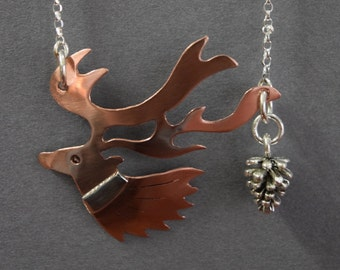 Deer necklace, deer head necklace, copper deer necklace, stag head necklace, copper stag necklace, deer head pendant, birthday gift