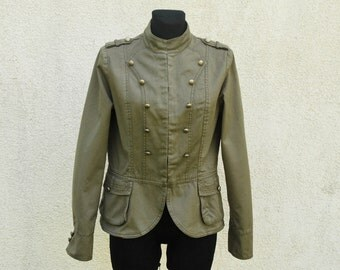 Khaki Womens Jacket Marching Band Double Breasted Military MJ Michael Jackson Blazer Metal Buttons Medium Size