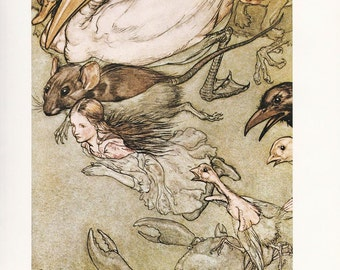 Alice's adventures in Wonderland Arthur Rackham vintage print pool of tears illustration  Lewis Carroll home decor 8.5x11.5 inches
