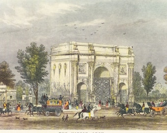 Victorian London Marble Arch vintage print coloured engraving 7 x 9.25 inches