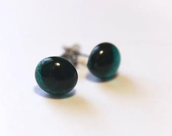 Transparent Dark Teal Green Glass Stud Earrings on titanium posts