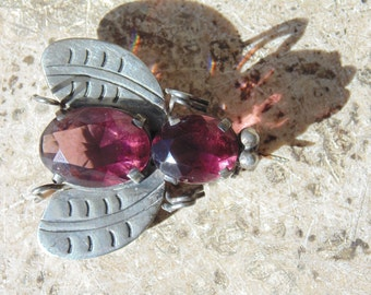 Mexican Sterling and Purple Glass Fly Pin c. 1940's